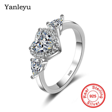 Yanleyu Heart Shape CZ Ring Authentic 925 Sterling Silver Wedding Rings for Women Engagement R...