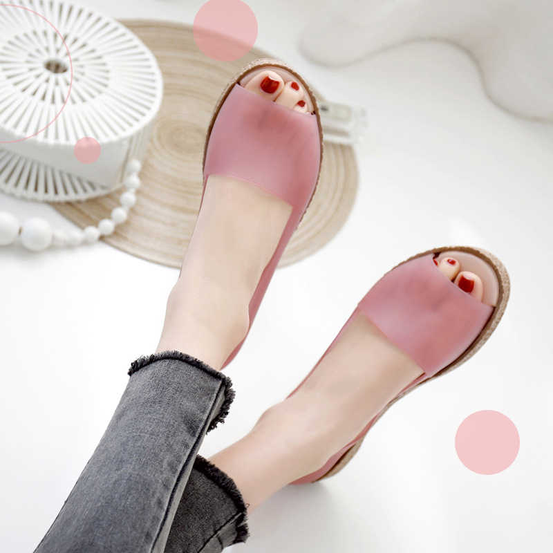 2019 Summer Womens Jelly Shoes Simple Peep Toe Slip-On Platform Shoes Female Casual Shallow Fashion Fingerless Ladies Footwear