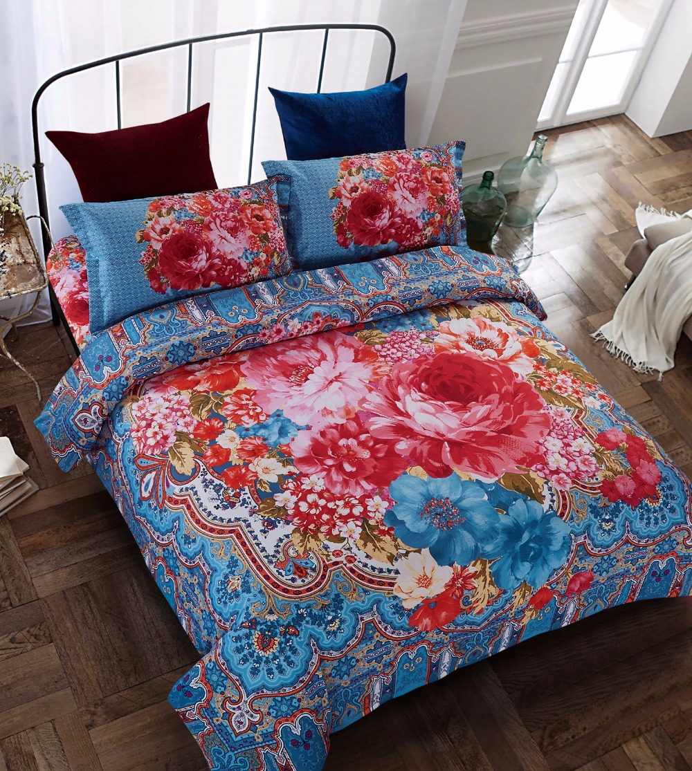 4pcs Cheap Discount Bedding Set Blue Fabric With Red