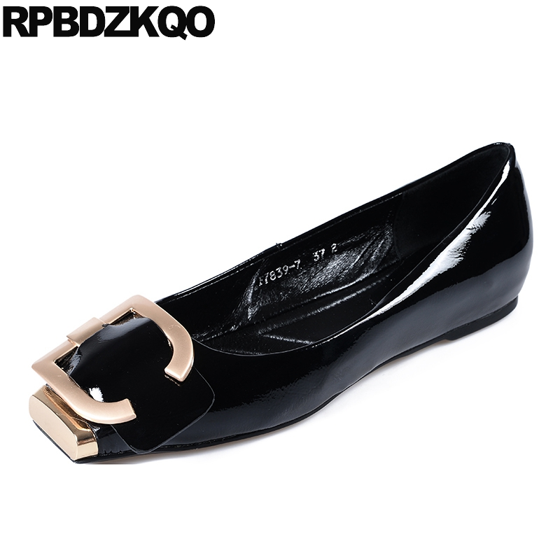 women chinese korean embellished ladies china patent leather metal spring autumn slip on square toe beautiful flats shoes blackwomen chinese korean embellished ladies china patent leather metal spring autumn slip on square toe beautiful flats shoes black