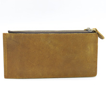 Shandemont men s long-style wallets, head leather, mad horse, Guangzhou card bag, clip, business thin section