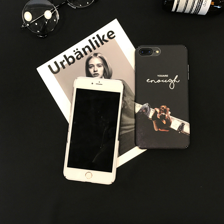 SZYHOME Phone Cases for IPhone 6 6s 7 Plus Case Personality Black White Frosted Plastic for IPhone 7 Phone Cover Case Capa Coque