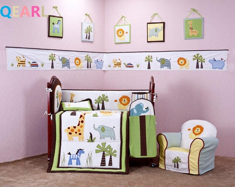 4 Pcs Baby Bedding Set Cotton Green Embroidery Lion Elephants Animals Coconut Quilt Per Cushion Pillow Crib