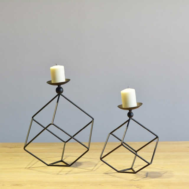 Simple Modern Design Black and White Cuboid Tabletop Metal Candle Holder  Matching Tealight Candle for Home