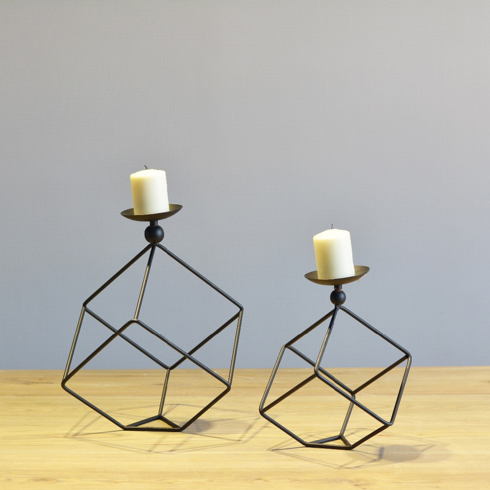 online get cheap design modern candle holder aliexpresscom  - simple modern design black and white cuboid tabletop metal candle holdermatching tealight candle for home