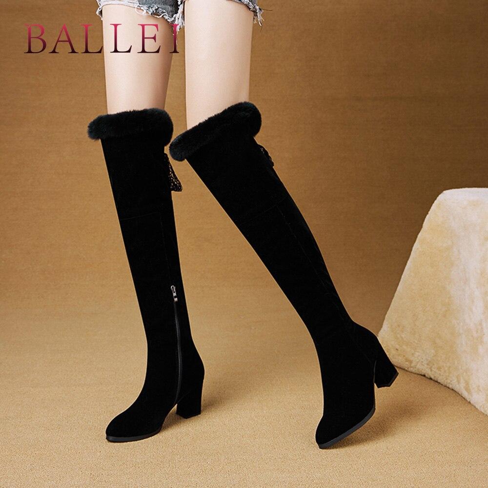 Invierno A Del Zapatos bota Puntiagudo Cuadrado Vintage Mano De Calidad Mujer Rodilla Clásico Tacón Dedo Hecho Alta Botas La H43 Black Pie Ballei Rebaño Sobre TIwO5xnq