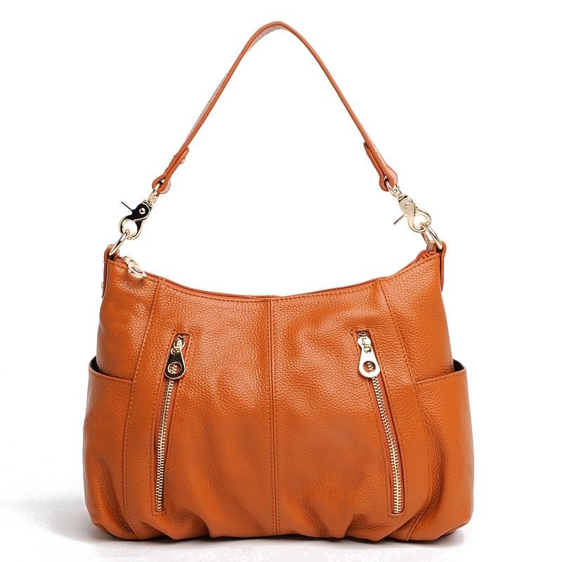 100% Genuine Leather Handbag Fashion Women Shoulder Bag Casual Tote More Pockets Design Female Messenger Crossbody Purse