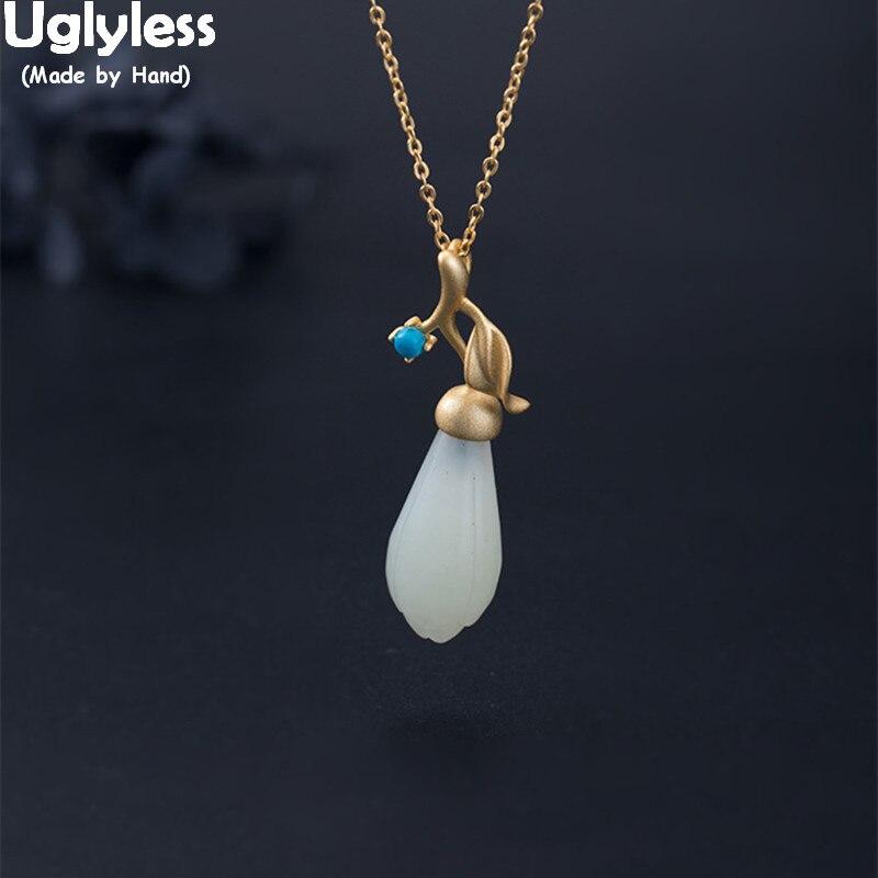 Uglyless 100% réel 925 argent Sterling Magnolia Chokers pour les femmes à la main plaqué or feuille colliers Jade Floral pendentifs bijou