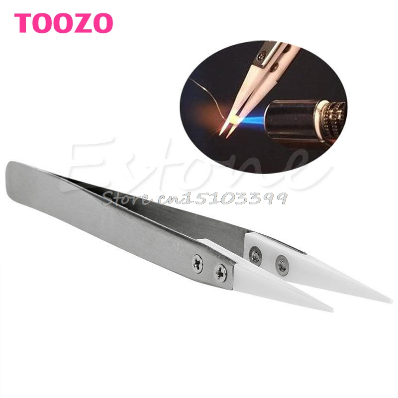 Heat Resistant Stainless Steel Ceramic Tweezers Pointed Tip For RDA RBA Coils G08 Drop ship 5pcs 2x100mm stainless steel shaft toy car gear axle diy accessories g08 drop ship