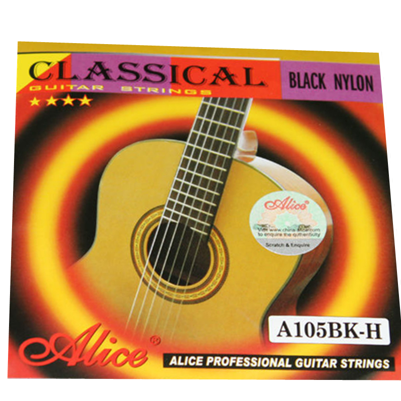 High Quality Alice A105BK-H Hard Tension Black Nylon Silver-Plated Classical Guitar Strings Copper Alloy Wound 1st-6th Strings olympia brand classical guitar string 1 set 6 strings high quality clear nylon strings normal or hard tension original