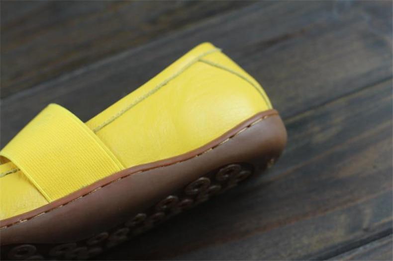 Genuína Mulheres de couro liso sapatos com