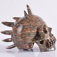Новый стиль Бамбук яшма череп большой размер 8 дюймов натуральный камень и Кристалл Уникальный 2915 г Статуэтка Череп Скульптурное Ремесло Ис
