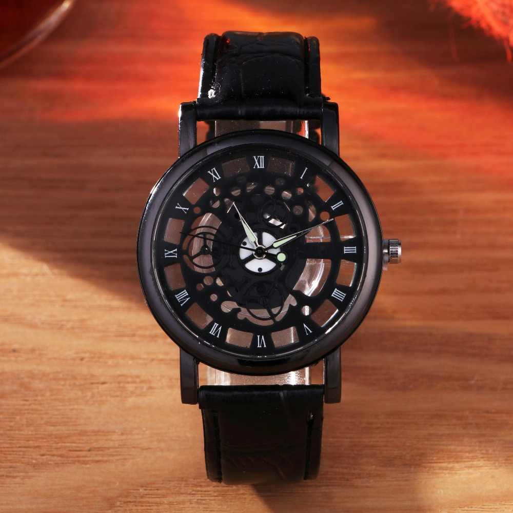 2017 Fashion Business Skeleton Watch Men Engraving Hollow Hombre Dress Quartz Wristwatch Leather Band Women Clock Relojes Mujer