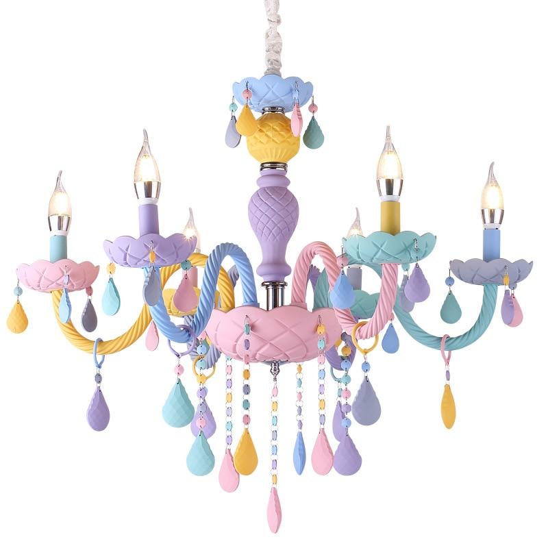 Macaron couleur suspension lampe blanche princesse fille enfants chambre chambre salle à manger cristal lumière E14 - 3
