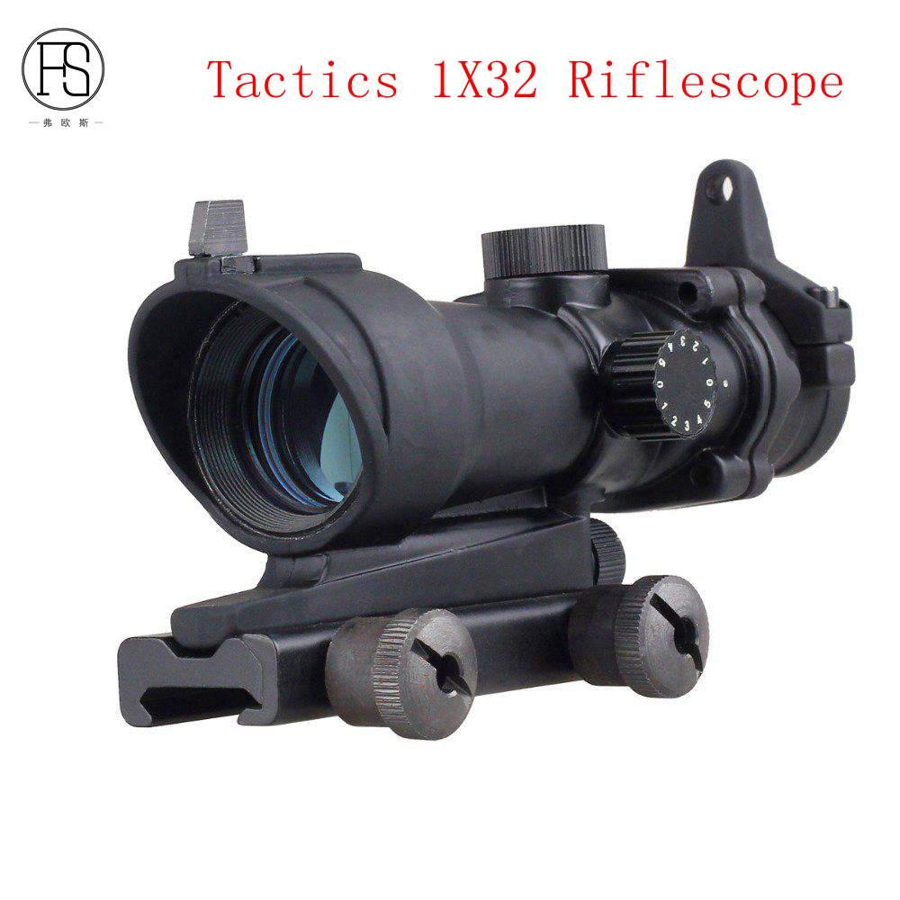 Support Wholesale Hunting Tactics Fiber Optic Source Type 1X32 Range Targeted Green Optics with Riflescope