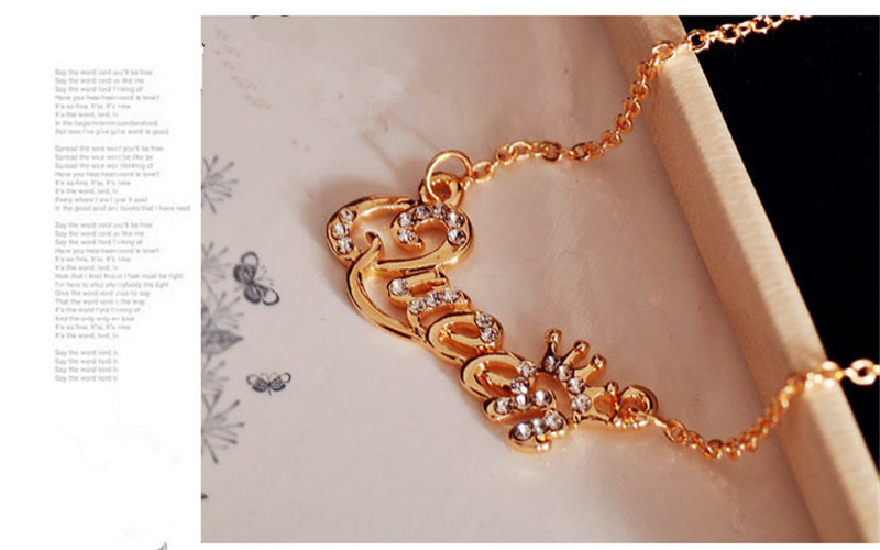 SHUANGR Luxury Gold-Color Queen Crown Chain Necklace Zircon Crystal Necklace Women Fashion Jewelry Birthday Present 6