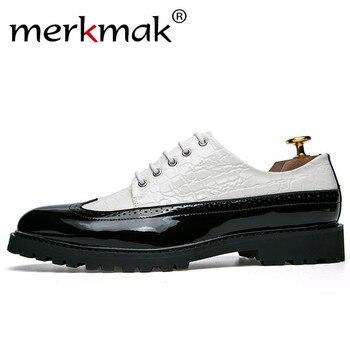 439d2fbc Merkmak cuero de alta calidad hombres Oxford borla mocasines patrón de  cocodrilo hombres zapatos de vestir de negocios zapatos de masaje Masculino