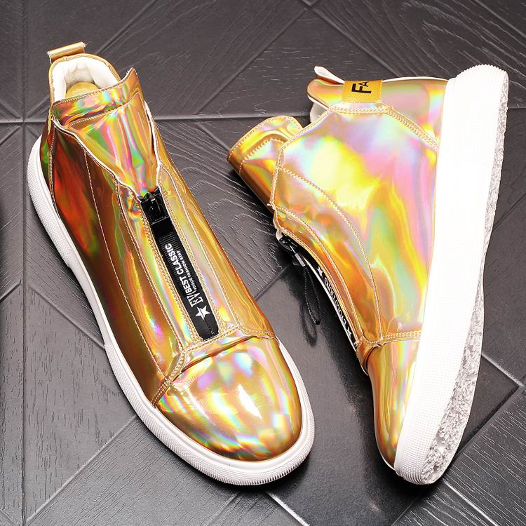 ERRFC Luxury Men's Gold Leisure Shoes Fashion Designer High Top Zip Man Casual Comfort Shoes For Show White Vogue Party Shoes 43 9