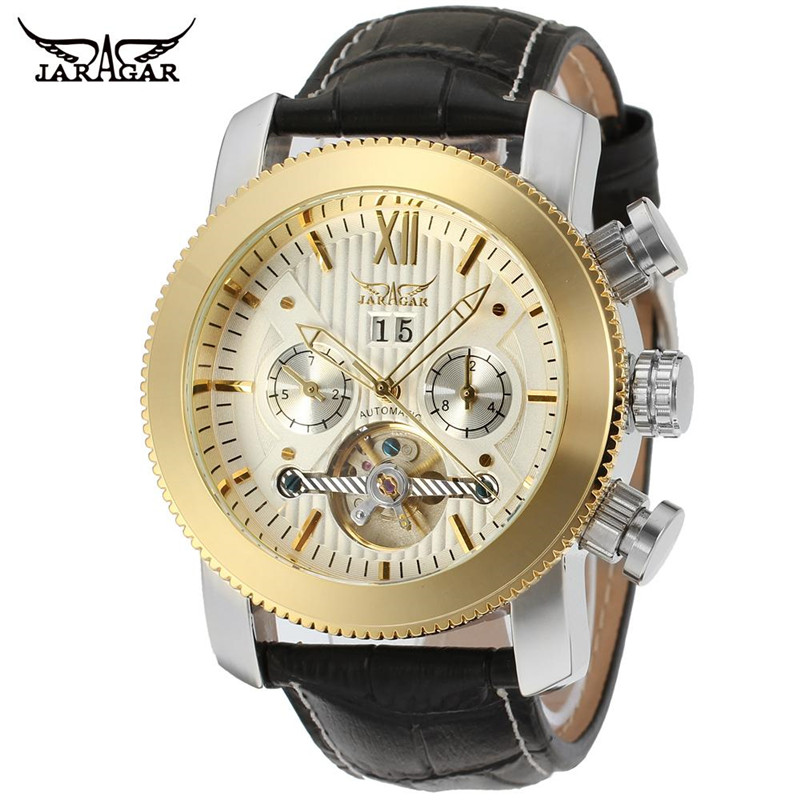ФОТО 2017 JARAGAR Men's Glod Day/Week/Month Tourbillion Wristwatch PU Leather Wristwatch Free Ship