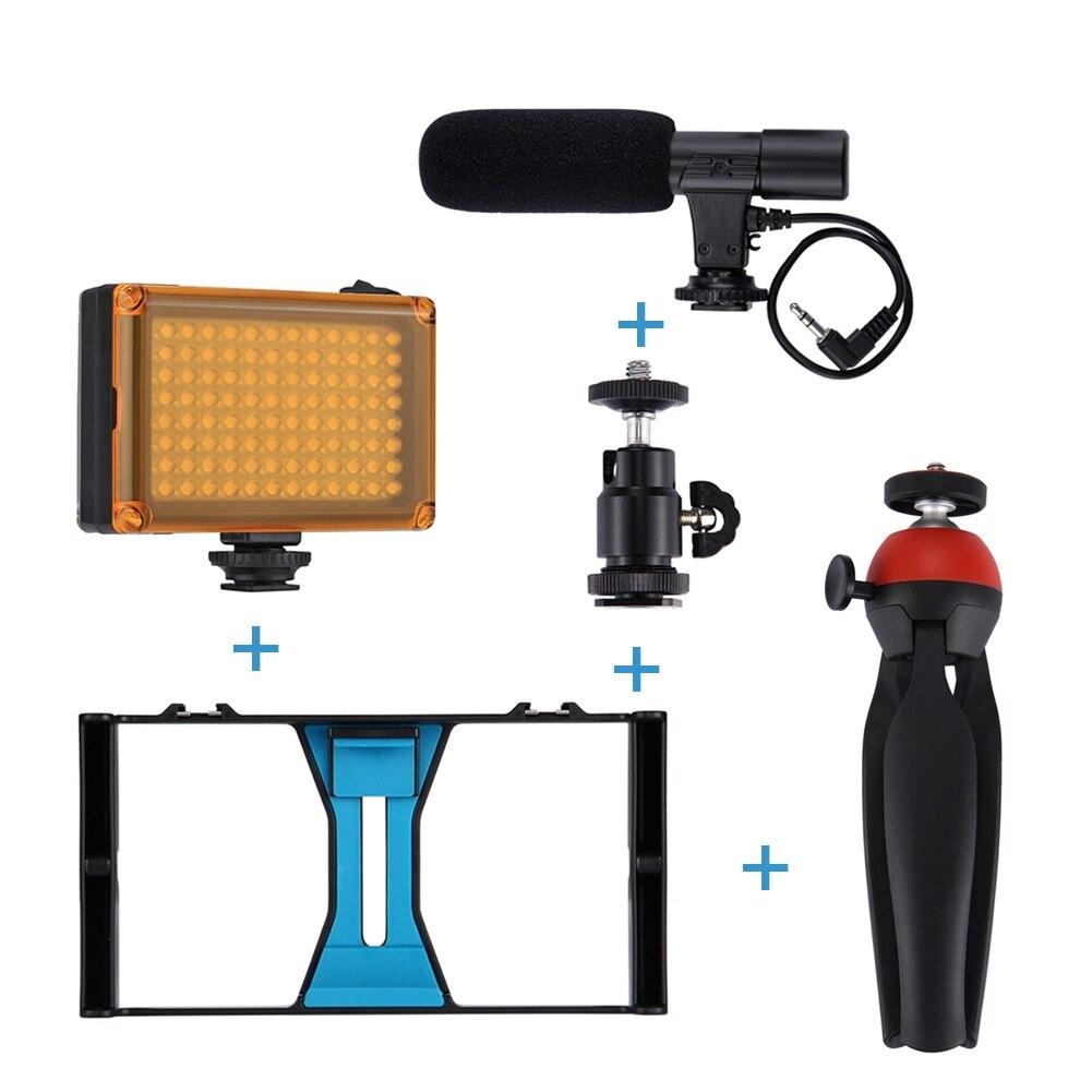 5 pièces/ensemble vente Sport caméra équipements 5-en-1 poche film faisant ensemble avec 3.5mm micro caméra lumière LED Mini trépied
