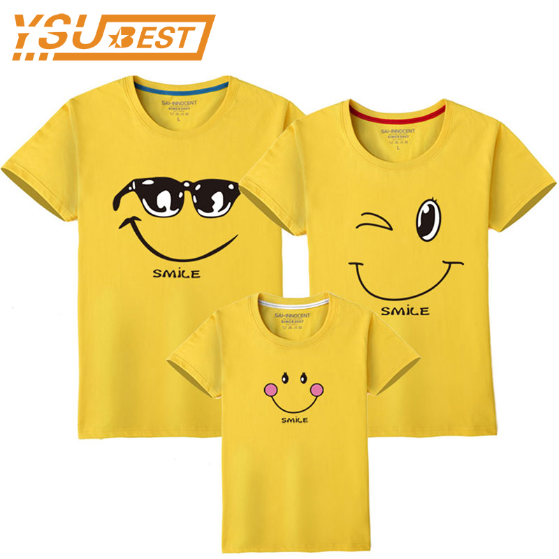 Smiling Face Shirt Short Sleeves Matching Clothes New 2018 Cotton Family Matching T Shirt Fashion Family Outfit Set Tees Tops black hollow out round neck short sleeves t shirt