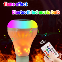 Multi function RGB led bulb E27 flame effect led lights with bluetooth speaker for music sound control smart bulb for party