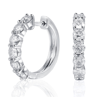 TransGems Platinum Plated Sterling Silver 1 8ctw 3 5mm H Color Moissanite Simulated Diamond Hoop Earrings