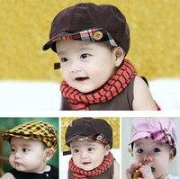 2016 New Baby Hat Brand Plaid Fashion Berets Newborn Photography Props Baby Boy Visors Sun Hats