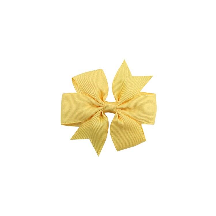 40 цветов сплошная корсажная лента банты заколки шпилька девушка бант для волос, бутик заколки для волос аксессуары для волос - Color: a37 Flesh Yellow