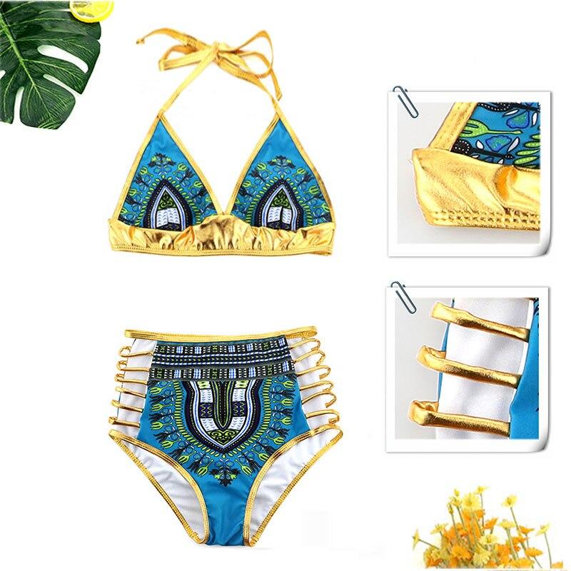 Комплект бикини с принтом в африканском стиле, сексуальный купальник с геометрическим рисунком, золотой купальник с высокой талией, купальный костюм из двух предметов, 2863|suit suit|suit swimsuit gold | АлиЭкспресс