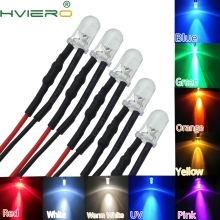 Free shipping 50pcs Wired led White LED Lamp Light Set Pre-Wired 5mm 12V DC DIY Red Blue Green Yellow Warm