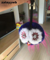 Zalzyywb 12CM High Monster Fur Pom Pom Keychain Luxury Car Key Chain Women Handbag Bag Charm
