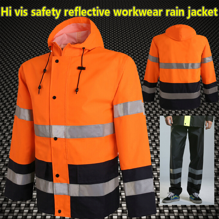 Orange safety rain jacket reflective Polyester Waterproof rain suit workwear New free shipping new high visibility fashion rainwear rain suit reflective jacket waterproof trousers safety clothing workwear free shipping
