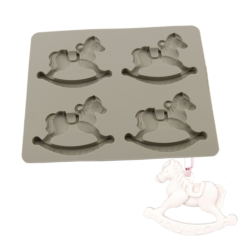Silicone Trojan Horse Shape 4 Cavity Aromatherapy Soap Moul For Perfume Resin Craft