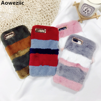 Aoweziic Luxury Fluffy Rabbit Fur Cases Hit Color Soft TPU Silicone Cover For IPhoneX 6 6S