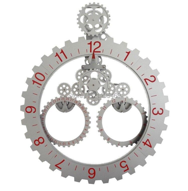 Acheter dhl livraison grande taille triangle engrenage horloge murale pour salon for Pendule murale grande taille