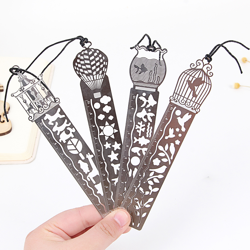 1 Pcs Korean Cute Creative Metal Straight Ruler Bookmark Hollow Rulers Stationery Office Accessory School Suppy Stationery