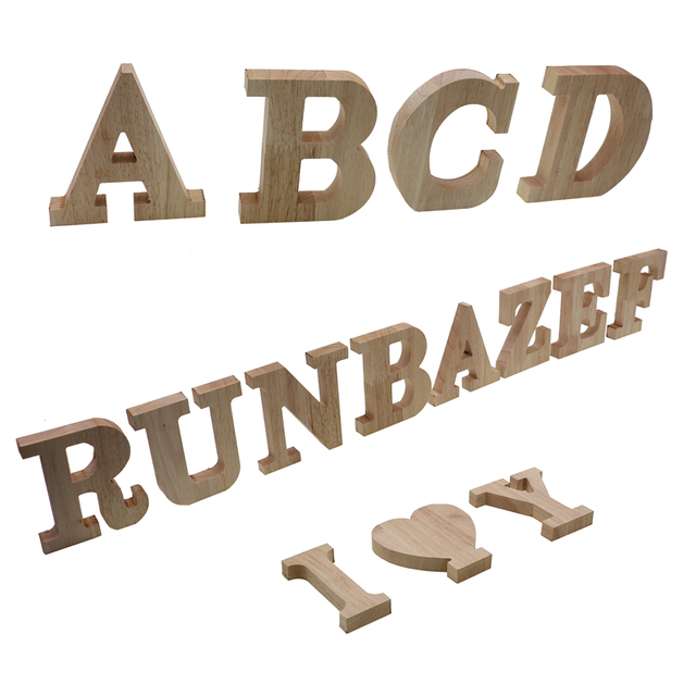 RUNBAZEF Decor Color Wooden Letter 26 Wood English Alphabet Letters Home Wedding Party Tools Decoration Number DIY Handcrafts 1