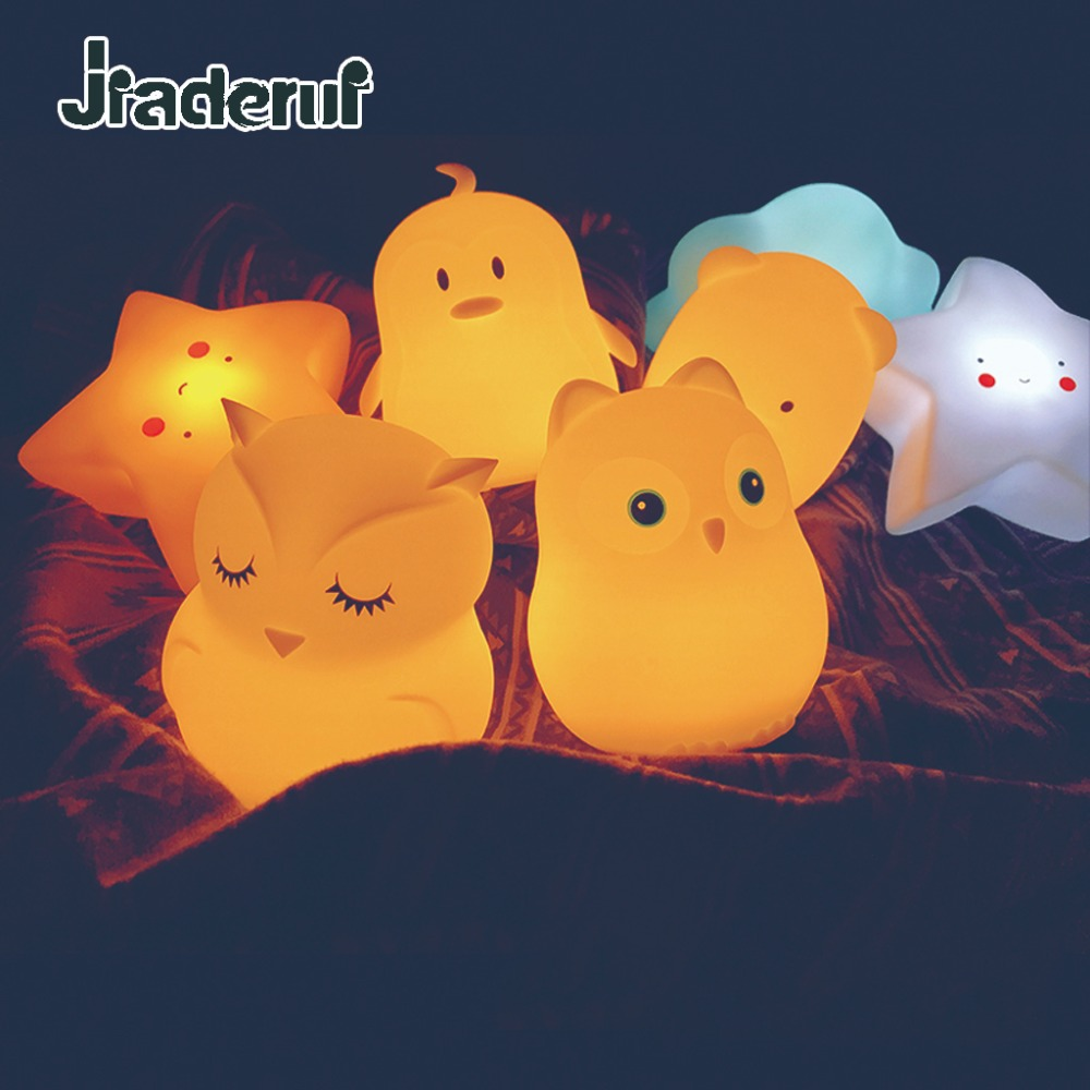 Jiaderui LED Baby Animal Night Light Owl Rabbit Bird Cartoon Silicone Kid Toy Night Lamp Bedside Table Lamp Gift Children 8Color colorful led rabbit night light bear table lamp rechargeable children baby kids birthday christmas gift animal cartoon led lamp