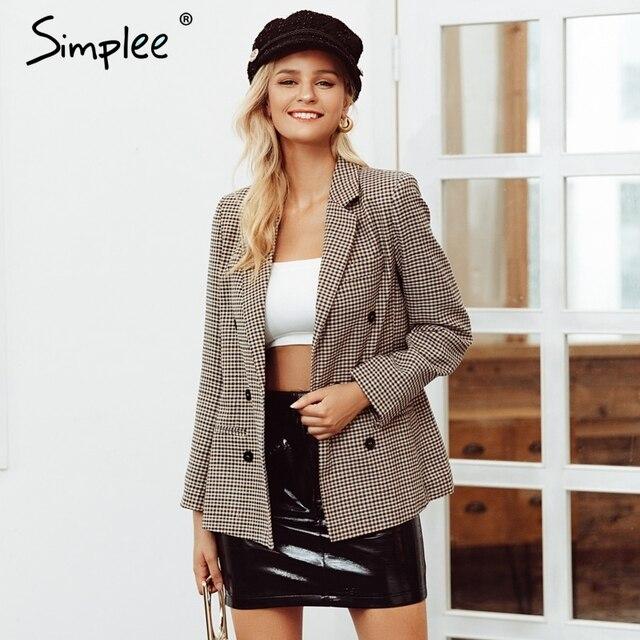 Simplee Fashion double breasted plaid blazer Long sleeve slim fit office ladies blazer 2018 Autumn jacket women blazers 2018