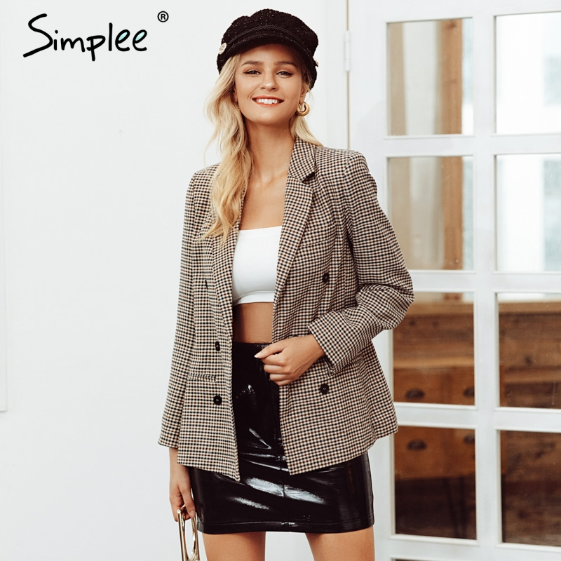 Simplee Fashion double breasted plaid blazer Long sleeve slim fit office ladies blazer 2019 Autumn jacket women blazers 2019