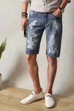 Babbytoro мужчины джинсовые шорты мода 2017 лето ripped отверстия прямые стильные джинсовые шорты плюс размер 38 36 34 28