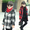 Girls New Autumn Winter Korean Child Children Woolen Coat Kids Clothing Plaid Red Green White
