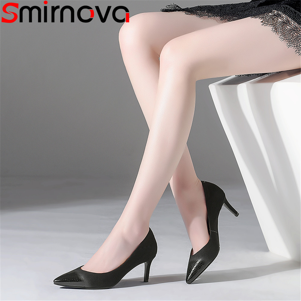 Otoño Smirnova Negro Tacones Elegante Nueva Mujer Zapatos Toe Suede Black Punta Moda Bombas Mujeres Altos Cuero Primavera Trtw6qxrS