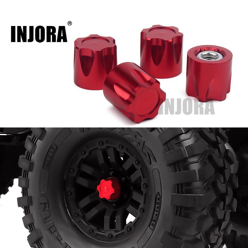 INJORA 4 pièces Aluminium RC voiture roue jante Center bouchon M4 écrou pour 1/10 RC chenille Traxxas TRX4 Axial SCX10 90046 D90 Tamiya MST