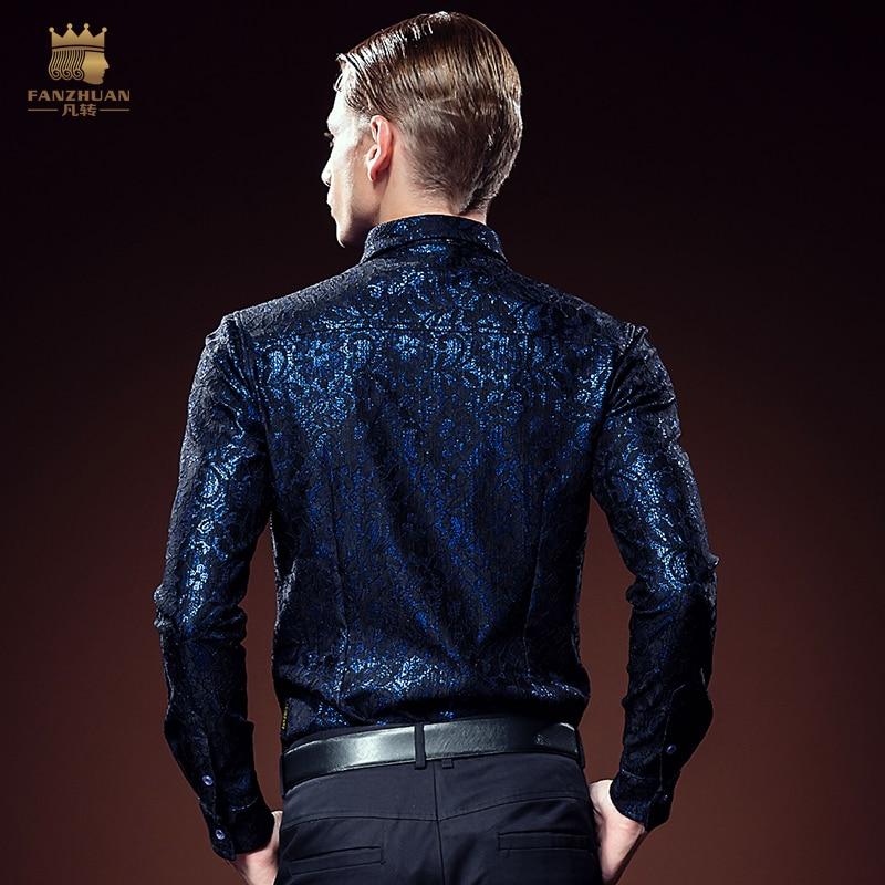شحن مجاني جديد الرجال عادية الخريف الحديد غامض الشاب لامع الدانتيل قميص ضئيلة طويلة الأكمام 2106 fanzhuan-في قمصان كاجوال من ملابس الرجال على  مجموعة 3