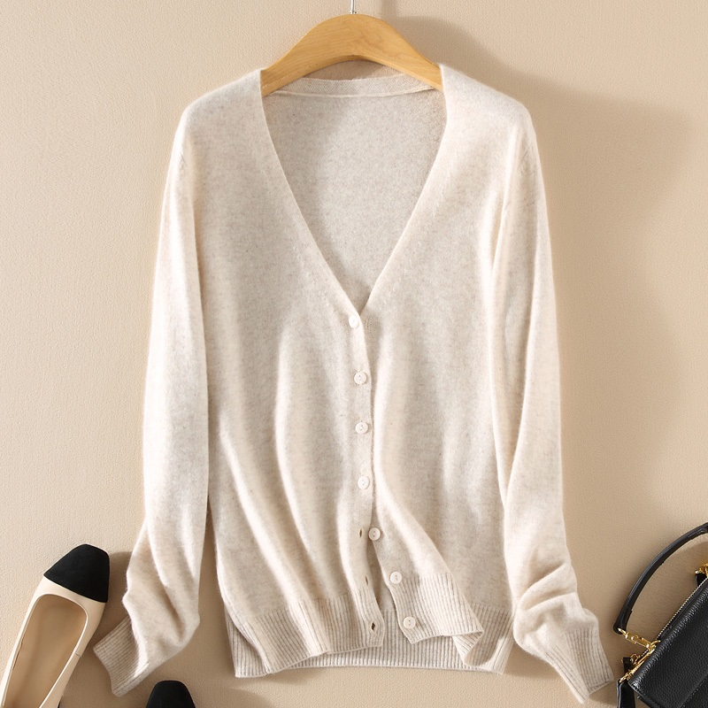 Spring And Autumn Knit Cardigan Women's Short Coat Cardigan V-neck Solid Color Large Size Sweater