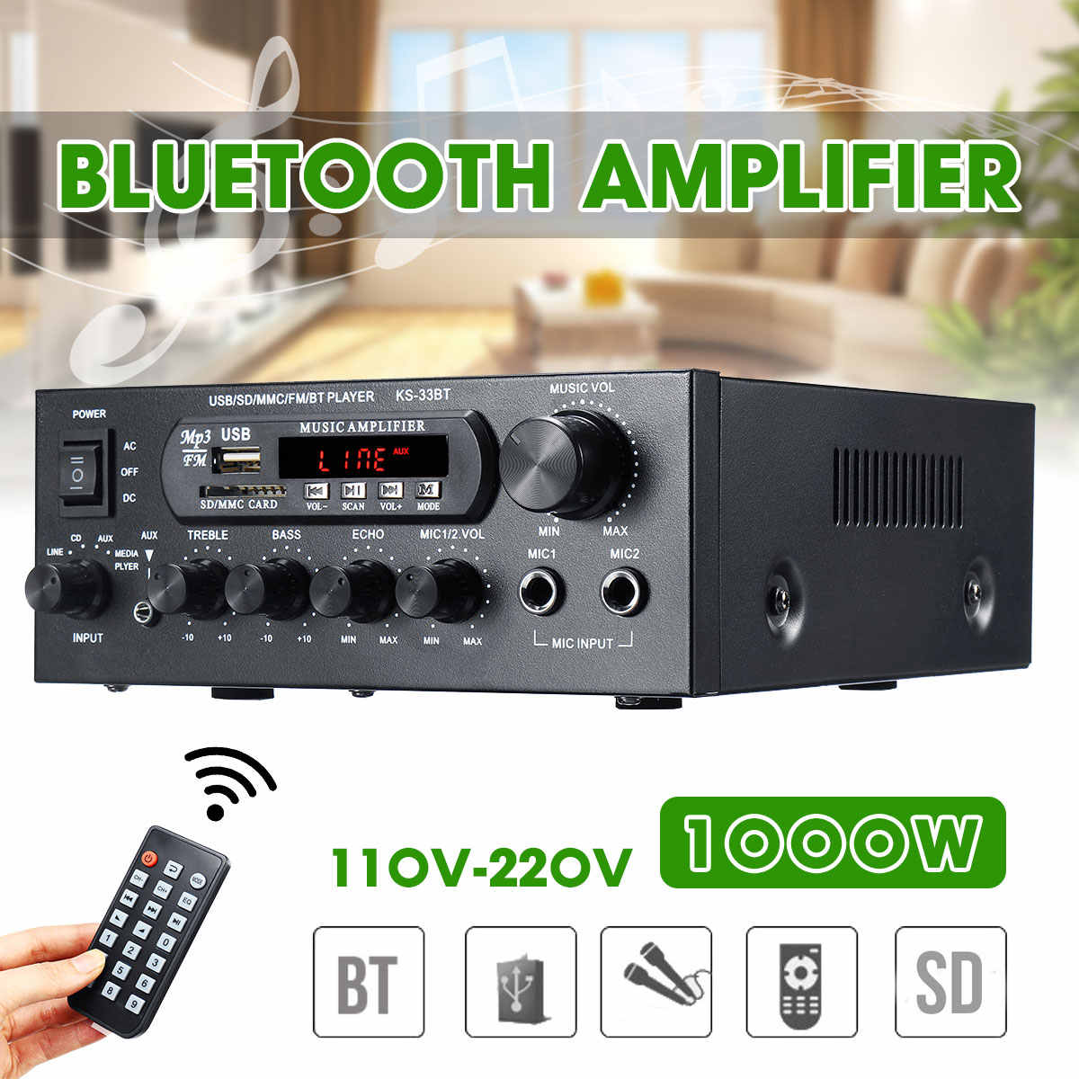 1000W 220V 110V Audio Power Amplifier Home Theater Amplifier Audio dengan Remote Control Mendukung FM USB SD kartu Bluetooth