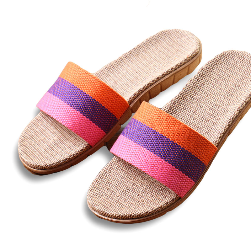 New Arrivals Summer Linen Women Slippers Brand Flat Non-Slip Breathable Stripe Hemp Basic Slides Home Sandals Charm Beach Shoes coolsa women s summer flat cross belt linen slippers breathable indoor slippers women s multi colors non slip beach flip flops