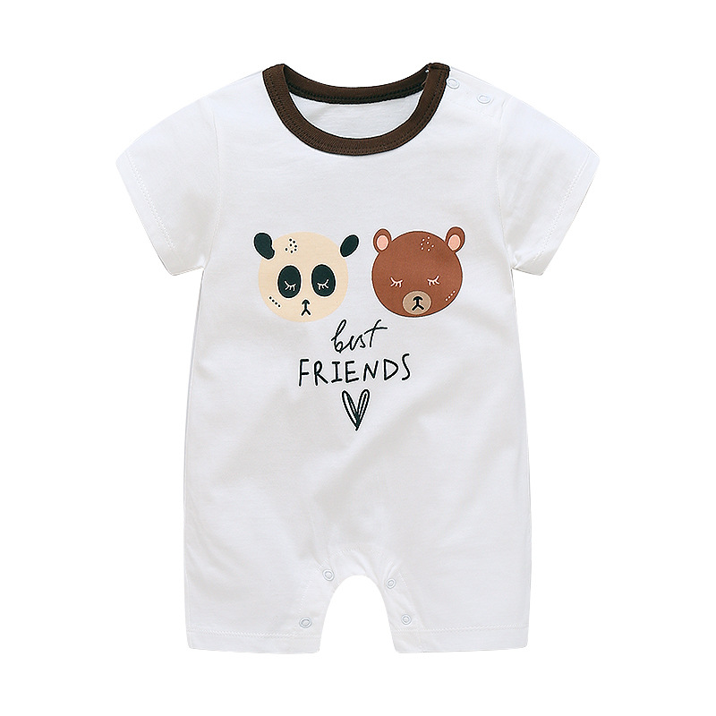 fd2cd8c8f663 Summer Baby Short Sleeved Smock Pure Cotton Rompers Boys Animal Rompers Bag  Fart Pajamas Newborn Body Suit New Style Girls Dress